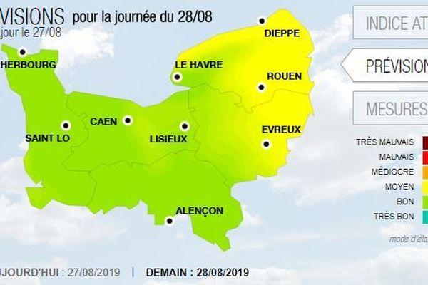 Les concentrations en ozone devraient continuer à baisser en Normandie le mercredi 28 août.