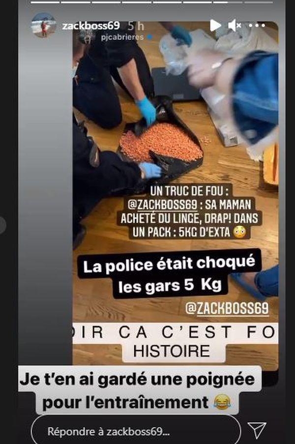 Capture d'écran Story sur Instagram des 5 kg d'ecstasy découverts dans un colis de linge commandé sur internet