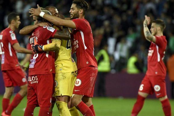 La joie des joueurs de Montpellier à l'issue de leur victoire 1 à 0 à Saint Etienne - 10/05/2019