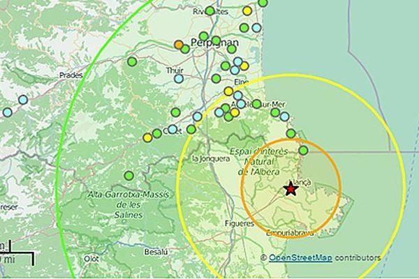 Carte séisme à 43 km au sud-est de Perpignan à 1h45, le 29 octobre 2015