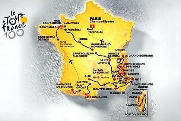 La carte de France des étapes du Tour 2013