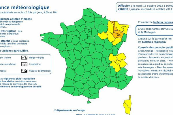 """Meurthe-et-Moselle et Vosges sont placés en """"alerte orange aux crues""""."""