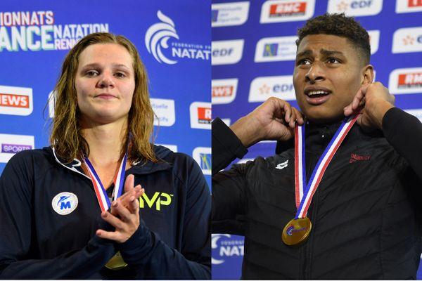 Marie Wattel et Yohann Ndoye Brouard aux championnats de France de natation à Rennes en avril 2019.