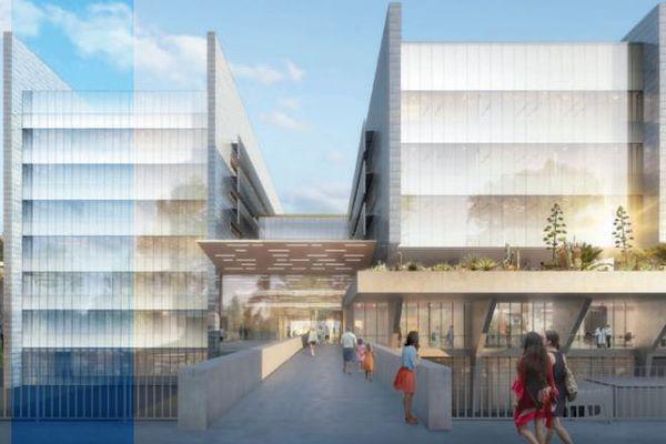Montpellier - projet de bâtiment unique de biologie médicale qui regroupera en 2024, 18 des 22 laboratoires du CHU à l'arrière d'Arnaud de Villeneuve et à proximité de la faculté de médecine.