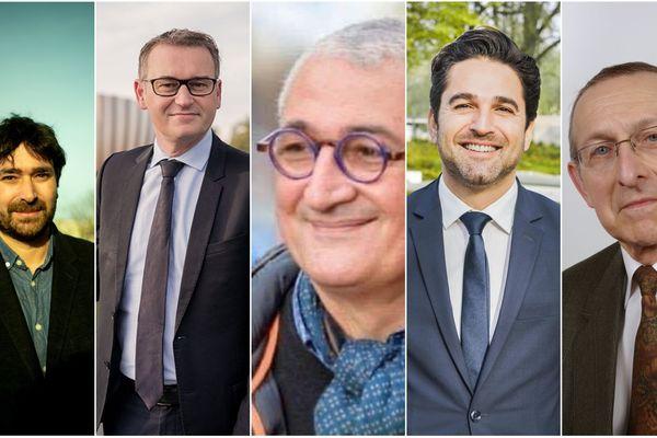 De gauche à droite, cinq des dix candidats aux municipales rémoises : Léo Tyburce (AEI), Eric Quénard (PS), Gérard Chemla (LREM), Arnaud Robinet (LR), Jean-Claude Philipot (RN).
