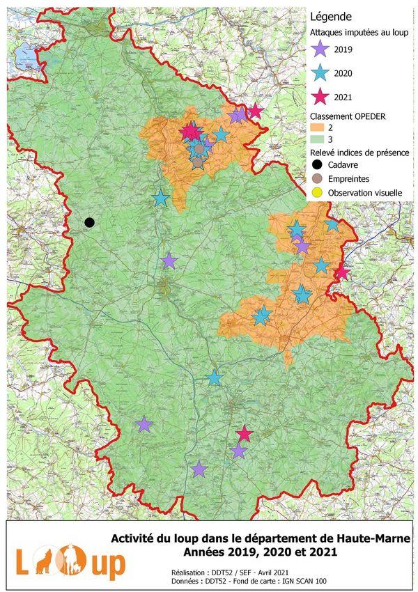 La Direction Départementale des Territoires de Haute-Marne recense les attaques de loup dans le département.