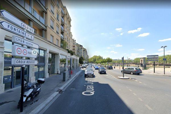 L'accident a eu lieu quai Joseph Gillet, dans le 4ème arrondissement de Lyon, côté Saône.