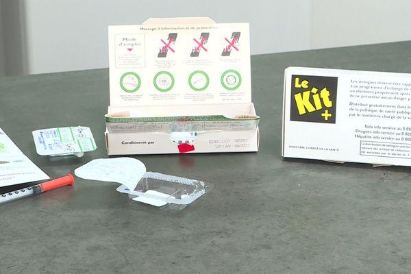 Modèle de Kit+ de prévention des risques distribués aux toxicomanes.