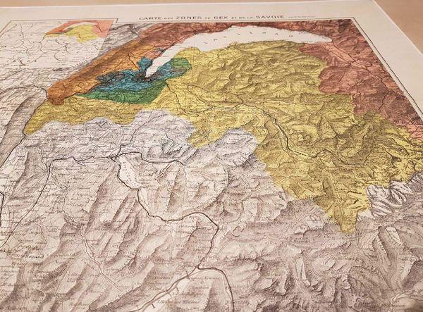 En jaune, la zone neutre de Haute-Savoie