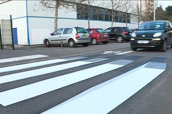 Le passage piéton en 3 D testé rue des déportés à Rezé