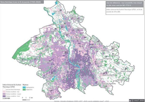 Stress thermique sur les communes de la métropole de Toulouse