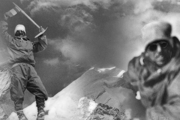 Maurice Herzog et Louis Lachenal au sommet de l'Annapurna.