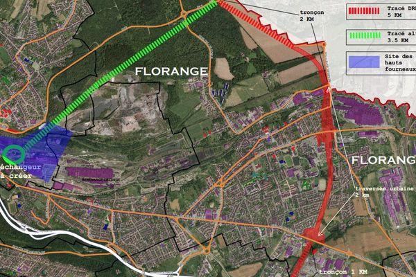 En rouge, le projet de contournement par Florange. En vert, le projet alternatif proposé par la mairie. (Document : Ville de Florange)