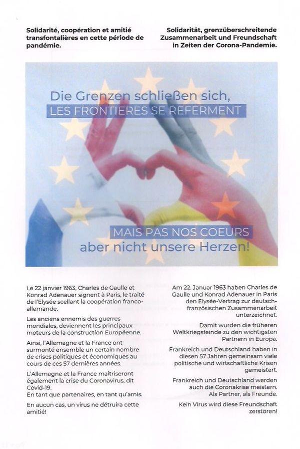 Le manifeste franco-allemand signé par 200 personnes de part et d'autre du Rhin et qui prône le dialogue et la tolérance au temps du coronavirus