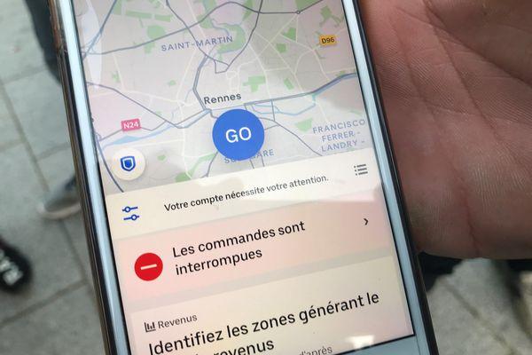 Il n'était plus possible de commander de repas à livrer dimanche soir, à Rennes, suite à la manifestation des livreurs Uber Eats et deliveroo.