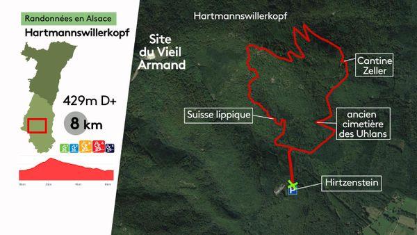 Le parcours est une boucle de 8 km, avec 429 mètres de dénivelé positif.