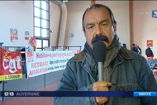 Philippe Martinez, secrétaire général de la CGT invité du journal la mi-journée sur France 3 Auvergne