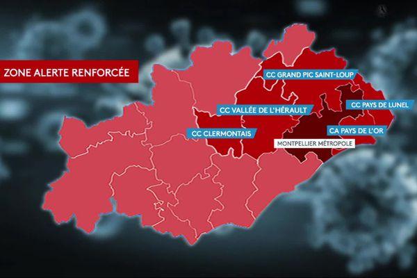 L'Hérault et les zones d'alerte COVID-19 au 13 octobre.