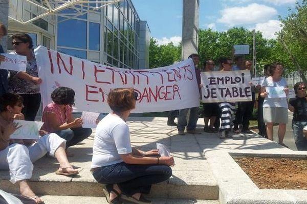 Montpellier - les personnels de France 3 rassemblés en soutien aux intermittents - 13 juin 2014.