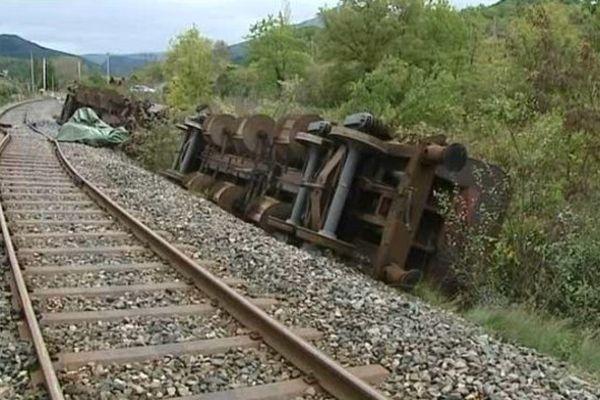 Accident de chantier sur la ligne SNCF Valence - Briançon, à hauteurd'Aubenasson, dans la Drôme.