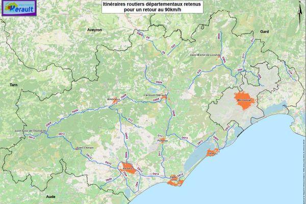 Dans l'Hérault, 350 kilomètres de routes départementales vont repasser à 90 kilomètres/heure, deux ans après la loi de l'abaissement de la vitesse à 80 kilomètres/heure entrée en vigueur le 1er juillet 2018. / juillet 2020.