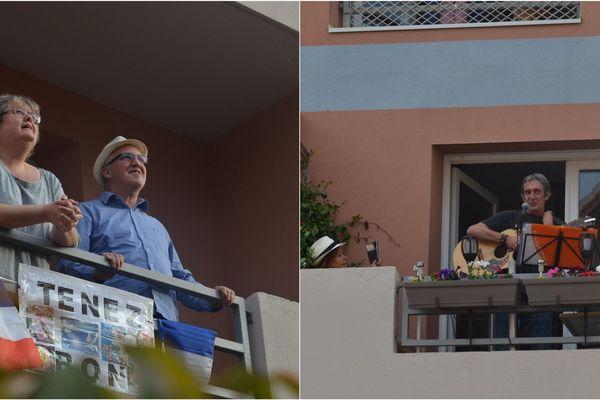 Gauthier, sur son balcon, anime l'hommage aux soignants chaque soir depuis le 16 mars Esplanade Wagner à Reims.