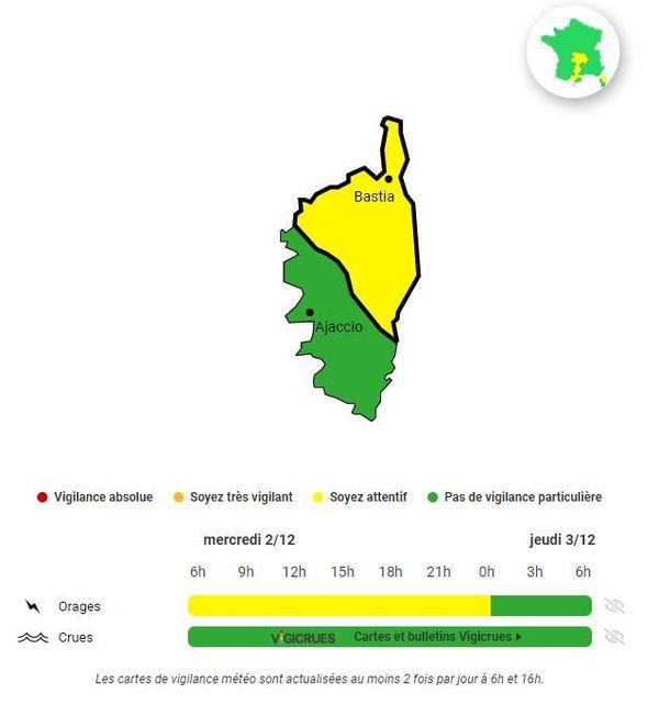 Le dispositif vigilance jaune est annoncé jusqu'à minuit en Haute-Corse.