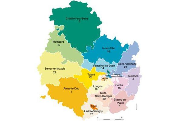 La Côte d'Or compte désormais 23 cantons contre 43 auparavant.