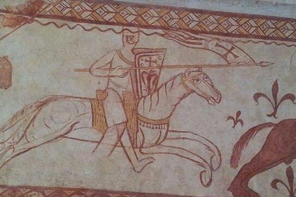 Une scène de la victoire des croisés à la bataille de la Bocquée, en 1163. représentée à Cressac