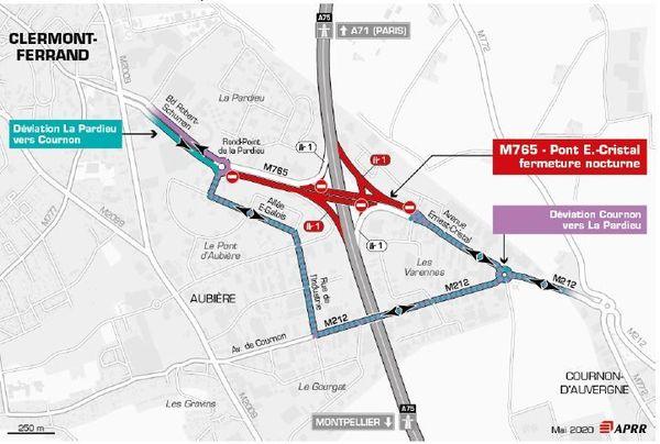 Les 15 et 16 juin, des déviations Cournon vers la Pardieu et La Pardieu vers Cournon sont mises en place sur l'A75.