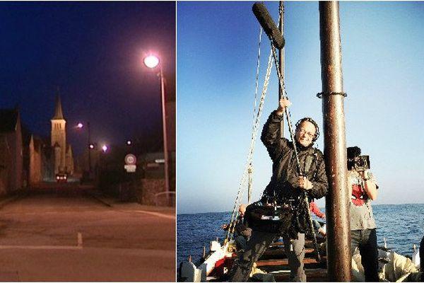 Sur la photo de gauche : la commune de Brasles dans l'Aisne. Sur la photo de droite : Edouard Gilles et Laurent Sbasnik, caché par le mat du bateau, lui aussi victime de l'accident, sur un tournage des Carnets de Julie au Pays basque qui sera diffusé le 18 mars prochain sur France 3.