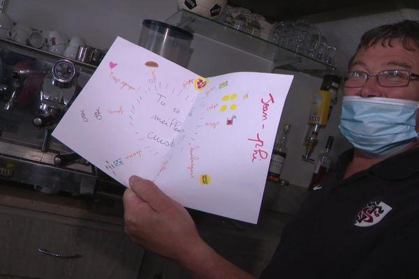 """Un dessin déposé dans la boîte aux lettres de l'incognito par les enfants de Baudre, pour """"le super cuisto"""""""