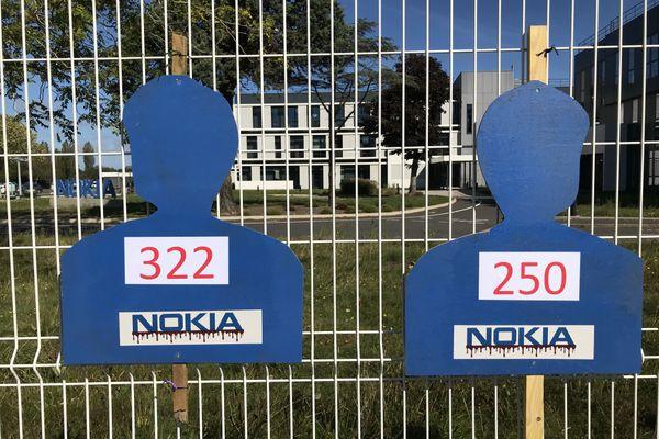 Mobilisation à Lannion le 8 septembre 2020 contre le plan de suppressions d'emplois chez l'équipementier en téléphonie, Nokia.