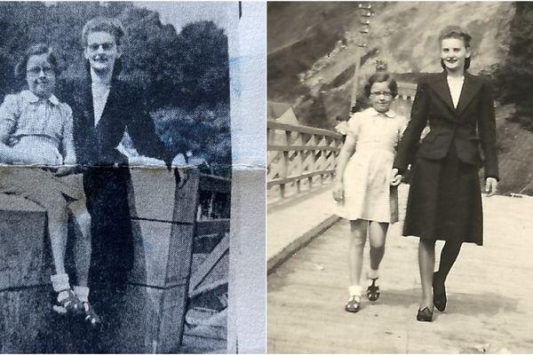 A gauche, la photo publiée dans le journal en 1995 par Jean Pinot pour retrouver sa sauveuse. A droite, la photo envoyée par Daniel Wanlin, le fils de la résistante recherchée.