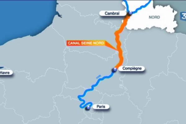 En orange, le projet de canal pour relier Compiègne et Cambrai.