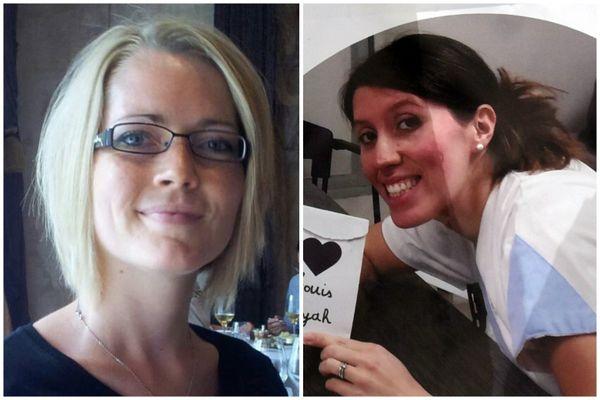 Alexia Daval à gauche. Delphine Jubillar à droite.