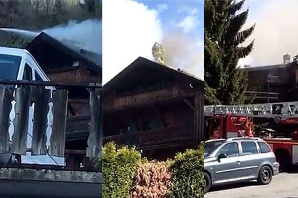 Les pompiers sont montés sur le toit de l'hôtel pour tenter d'éteindre l'incendie.