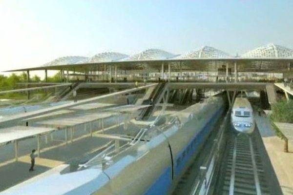 La future gare TVG, Montpellier Sud de France. Ouverture dans trois ans en 2017.