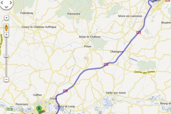 La RN2 Laon-Soissons