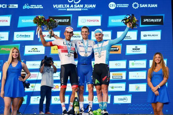 Le Beauvaisien, Rudy Barbier (à droite), lors du Tour de San Juan en 2020 où il avait remporté la première étape.