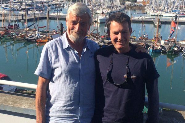 Le circumnavigateur Jean-Luc Van Den Heede (à gauche) et Antoine Cousot (skipper de Noirmoutier). Ils font partie des inscrits à la Golden Globe Race 2018.