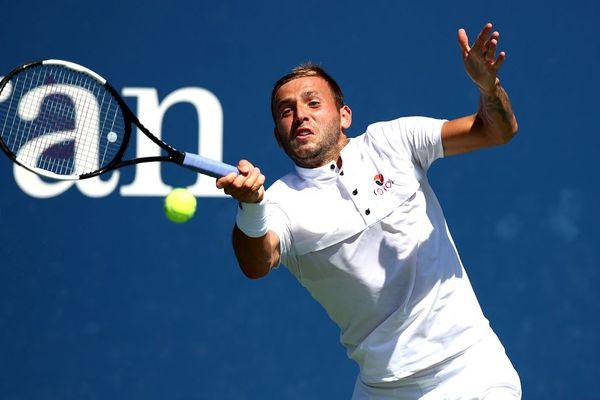Lucas Pouille lors du match contre Daniel Evans, le 29 août, à New-York, pendant le 2e tour de l'US Open.