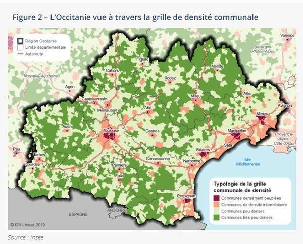 Dans la région, les communes denses se situent au cœur de cinq grandes agglomérations : Toulouse, Montpellier, Perpignan, Nîmes et Béziers - 07.01.20