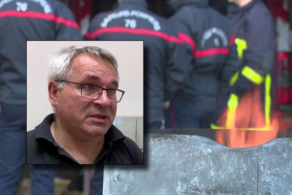 Manifestation de pompiers de Seine-Maritime près d'un brasero (Archives). En médaillon : Jean-Yves Lagalle, directeur du SDIS 76.