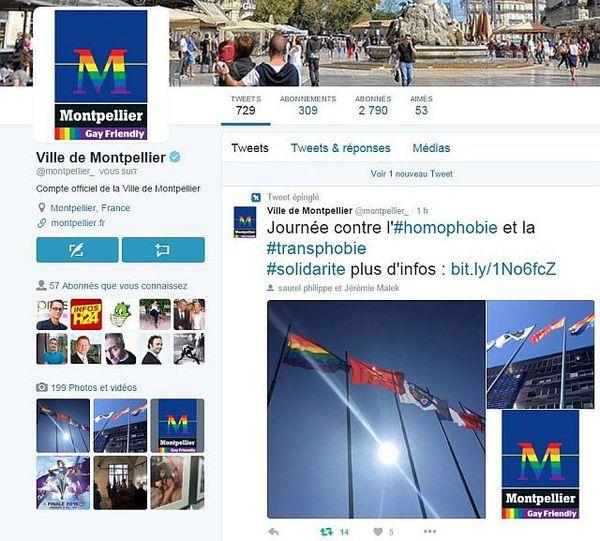 """Le compte twitter de la mairie de Montpellier aux couleurs """"gay friendly"""""""