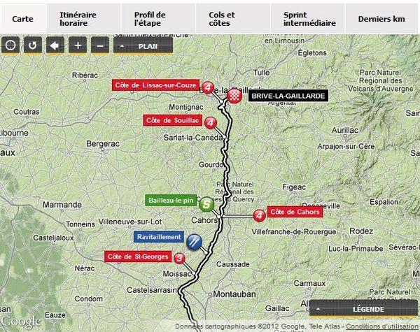 le tracé emprunté par les coureurs du Tour de France 2012 dans l'étape Blagnac-Brive