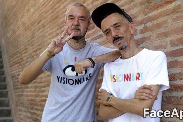 Avec l'application russe FaceApp, tout le monde peut se vieillir au delà de 60 ans. Exemple, ici, avec les chanteurs toulousains Bigflo et Oli.