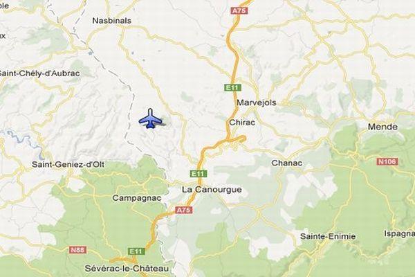 Carte Google - Trélans (Lozère) - lieu du crash de l'avion de fret militaire algérien