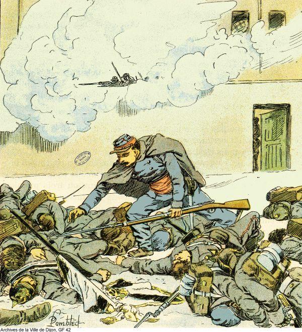 """""""Le chasseur Curtat s'empare du drapeau du 61e régiment poméranien"""" : Gravure de Louis Bombled extraite de l'ouvrage « L'Armée de l'est » par Eugène Désiré Edouard Sergent."""