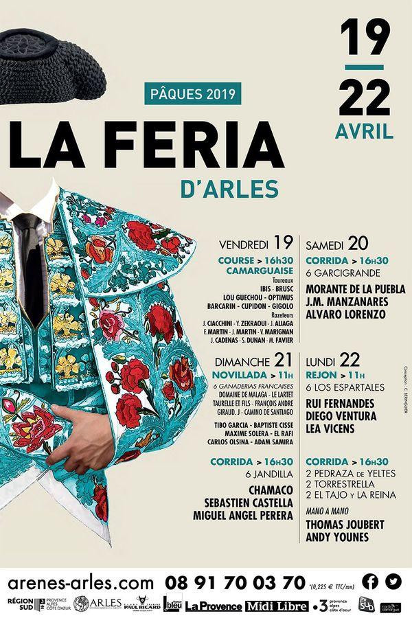 Affiche du programme de la Féria d'Arles 2019.